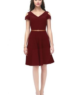 Imported Maroon Knee Length One Piece Dress