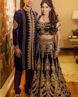 Bridal Navi-Blue Velvet Lehengha Choli Set with Dupatta