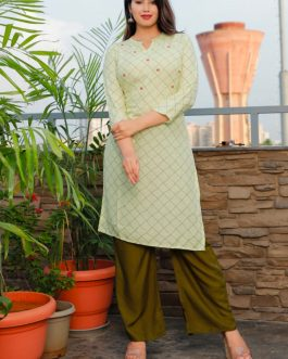 Beautiful Rayon Hand Work Kurti Palazzo Set