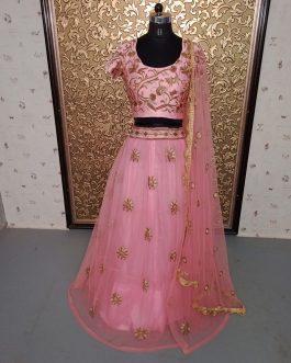 Rose Pink Designer Lehenga (Semi-Stitch)