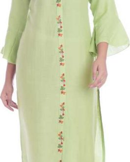Women Embroidered Rayon Straight Kurta