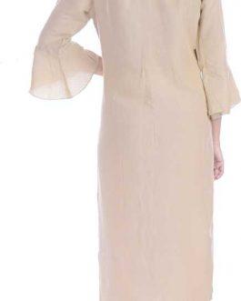 Women Embroidered Rayon Straight Kurta  (Beige)
