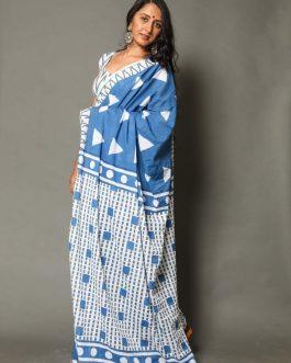 MultiStyle Block print mul mul cotton saree