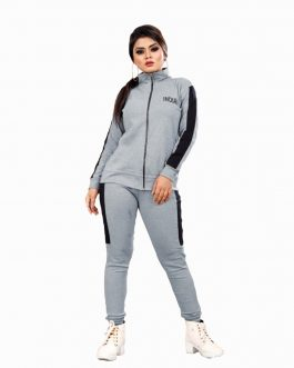 Rib Cotton Tracksuit (Grey)