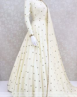Beautiful New Designer Party Wear Georgette Gown With Dupatta