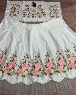 White Heavy Net Malay Silk Sequence Lehenga
